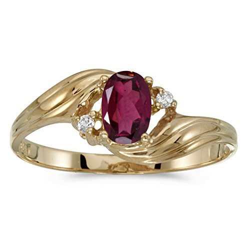 FB Jewels 14k Yellow Gold Genuine Red Birthstone Solitaire Oval Rhodolite Garnet And Diamond Wedding Engagement Statement Ring - Size 10.5 (1/2 Cttw.) ()