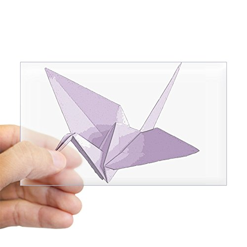 igami Crane Purple - Rectangle Bumper Sticker Car Decal (Lucky Crane)