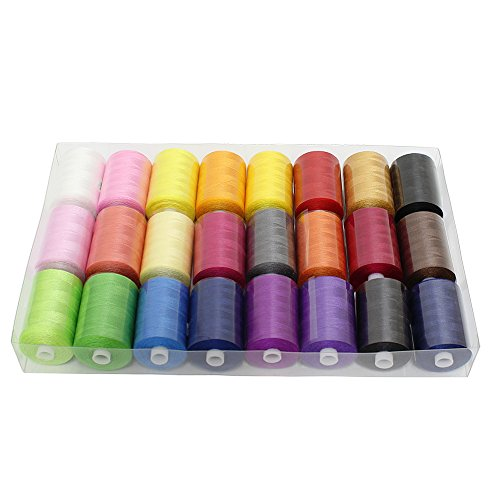Polyester Sewing Thread,HAITRAL 24 Colors 1000 Yards Each Spools Embroidery Thread for Hand and Sewing Machine Use by HAITRAL