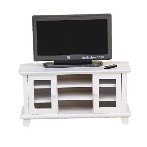 1:12 Dollhouse Miniature TV with White TV Cabinet Bench Furniture for Dolls House Living Room (Cabinet Miniature Small)