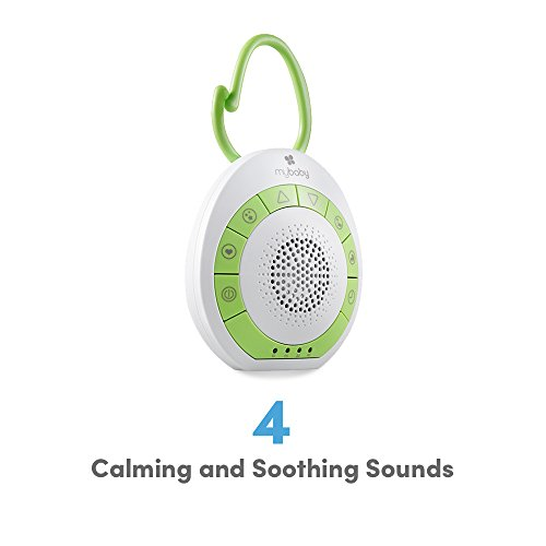 MyBaby, SoundSpa On-the-Go, 4 Soothing Sounds with Adjustable Volume Control, Versatile Clip to attach to Strollers, Diaper Bags & Car Seats, Auto Timer, Small & Lightweight
