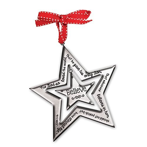 Lighthouse Gifts Believe John 3:16 Silver Star Christian Christmas Tree ()