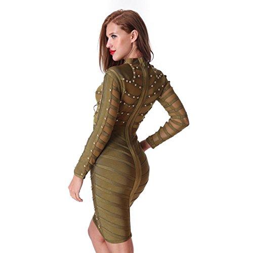 Vestido Green0027 Meiliyi Olive Mujer Para 1FdqBwTqxc