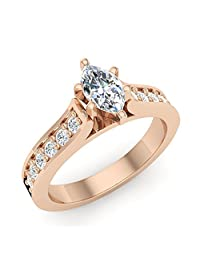 3/4 ct tw Marquise Diamond Engagement Ring in 14K Gold (G,I1) Premium Quality