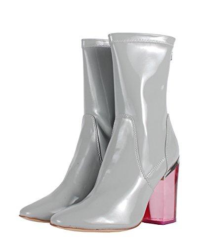 Windsor Smith Vinyl Grey Patent Boots–Botas grises de piel tacón transparente gris