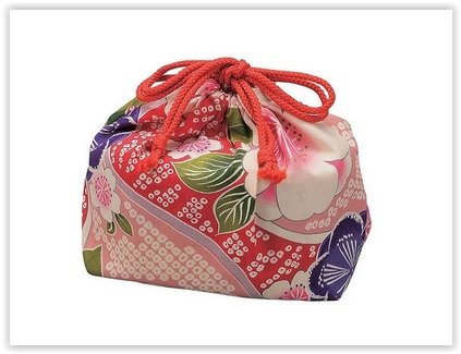 Kimono Yu-zen Design of Japan, Fabric-covered Rectangular Bento Box Oval Type (Cherry Blossoms Pink) Only Now with Bento Bag!! Japanese Import.
