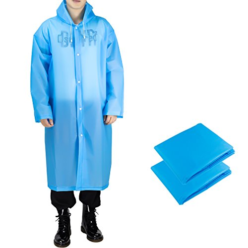 ANTVEE Portable EVA Rain Coat for Adults, Reusable Rain ponchos with Drawstring Hood and Sleeves, for Theme Park, Hiking, Camping or Traveling, 2 Packs (Blue)