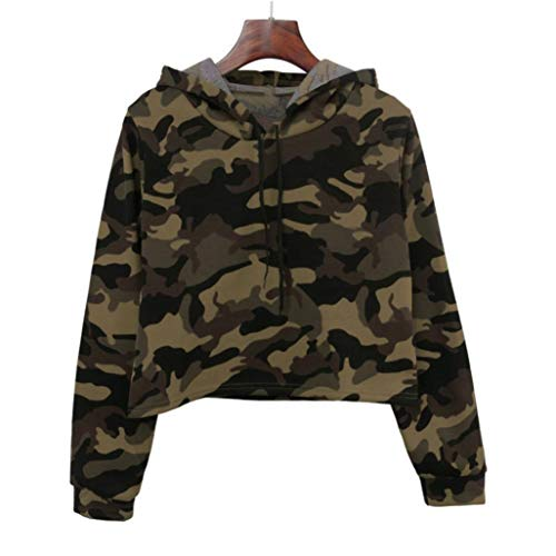 Manches Longues Blouse O Capuche Patchwork Femme Camouflage Vert Bringbring Tops Sweat Chemisier Neck gqtIw4