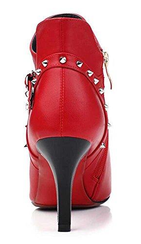 Chfso Womens Sexig Stilett Studded Fasta Spetsig Tå Dragkedja Hög Klack Boots Röd