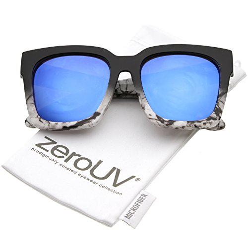 zeroUV - Bold Thick Arms Colored Mirror Square Lens Horn Rimmed Sunglasses 58mm (Black White Marble / Blue - Sunglasses White Square