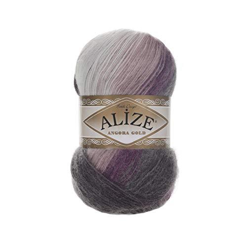 20% Wool 80% Acrylic Soft Yarn Alize Angora Gold Batik Thread Crochet Lace Hand Knitting Turkish Yarn Lot of 4skn 400gr 2408yds Color Gradient 1986 ()