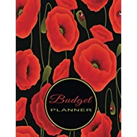 Budget Planner: Expense Tracker Planner - Non-Dated Simple Household or Personal Budgeting Sheets - Seamless Poppies Black