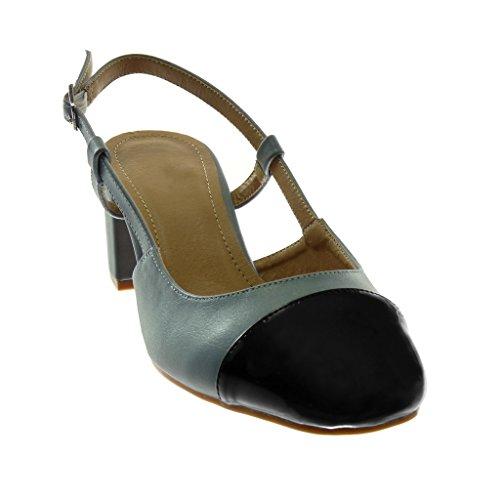 Fibbia Decollete Verniciato Cm materiale Blu Donna back Blocco Open Angkorly Bi Bicolore A 6 Scarpe Alto Moda Sandali Tacco gC4zFq