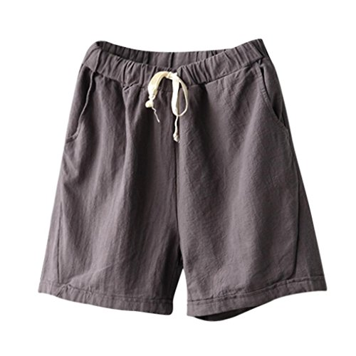 Summer Clearanc!Women Casual Cotton Linen Shorts Elastic Waist Summer Slim Lady Short Pants by-NEWONESUN