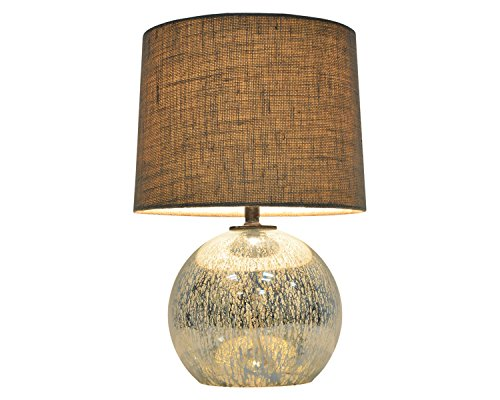 Threshold Globe Mercury Glass Table Lamp, reflective surface and bring extra light to the room Burlap-style shade
