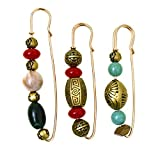 Vpang 3 Pcs Colorful Beads Brooch Pins Sweater Shawl Clips Cardigan Collar Brooch Clips Scarf Clips Safety Pins Shirts Dresses Shawl Clips for Women Girls
