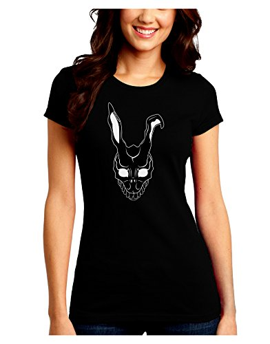 TooLoud Scary Bunny Face Black Juniors Crew Dark T-Shirt - Black - (Donnie Darko Outfit)