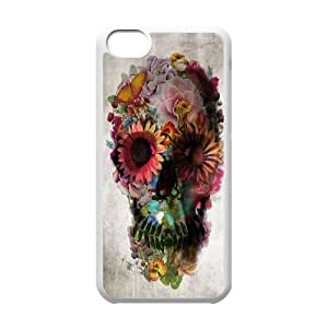 LJF phone case C-Y-F-CASE DIY Flower Skull Pattern Phone Case For phone Iphone 5C