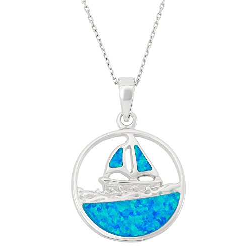 Sterling Silver Created Blue Opal Sailboat on the Sea Circle Pendant with 18 Chain