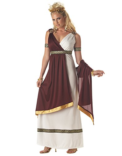 Toga Party Costumes (California Costumes Women's Roman Empress Costume,White/Burgundy, Large)