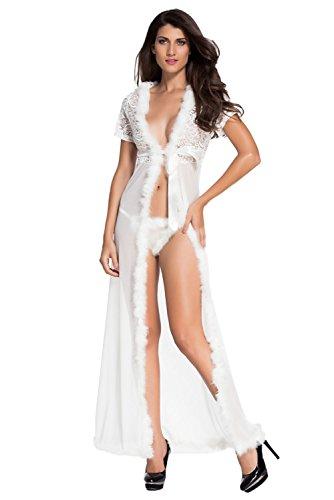 LittleLittleSky Womens Sexy Ivory Fur Trim Glam Night Robe Gown Long Dress (3XL|4XL, White)