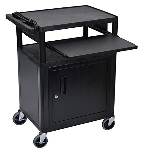 LUXOR LP34CLE-B Endura 3-Shelf Presentation Cart with Cabinet and Pullout Shelf, Black