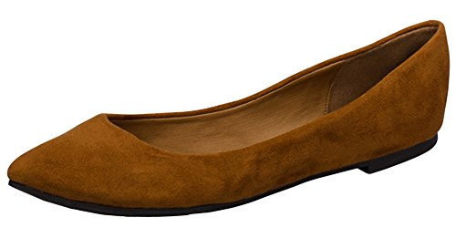 Women's Classic Flat Toe Tan Ballet Breckelle's Shoe Pointed ZqwBd8Bxa