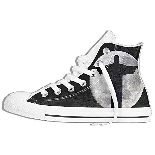 Baskets Montantes Classiques Toile Chaussures Antidérapantes Dieu Marchant Occasionnels Pour Hommes Femmes Blanc