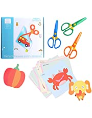 amassan Kids Scissors Plastic Safety Scissors Blunt Tip Scissors Toddlers Training Scissors Pre-School Training Scissors and Offices Scissors(3pcs),Cut Paper(60pcs)