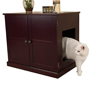 Amazon  Meow Town MDF Litter Box Cat Cabinet Mahogany