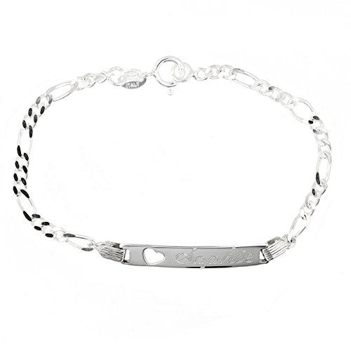Sterling Silver Polished Heart Cut Out Engravable Id Identification Bracelet for Child