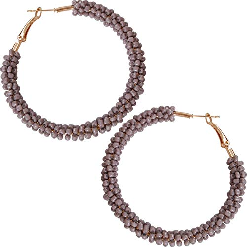 Humble Chic Beaded Hoop Earrings for Women - Statement Loops Big Hoops Bohemian Circle Post Studs Round Drop Dangles, Grey Hoops, Light Charcoal Gray, Gold-Tone ()