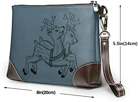 GLGFashion Pochette en cuir Sac à main Bourse Women's Leather Wristlet Clutch Wallet Merry Christmas Storage Purse With Strap Zipper Pouch