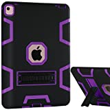 iPad Pro Case, iPad Pro 9.7 Case, BENTOBEN Kickstand 3 In 1 Hybrid Shock Absorption Heavy Duty Rugged Bumper High Impact Resistant Full Body Protective Case for iPad Pro 9.7 Inch, Black/Purple