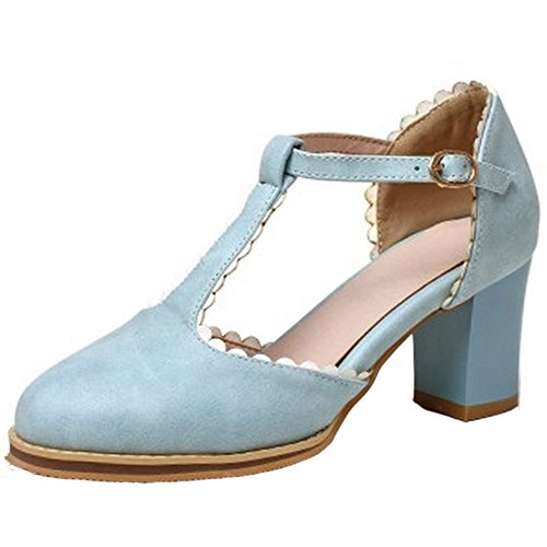 FANIMILA Mujer Moda Tacon Ancho Dedo Del Pie Cerrado Tacon Alto Bombas Zapato Lindo Correa En T Zapatos for Chicas Azul