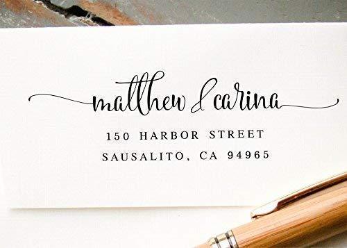 Custom Return Address Stamp, Self-Inking Hand Calligraphy Address Stamp, Pre-Inked Custom Rubber Stamp, Wedding Invitation Stamp, Save the Date Stamp ()
