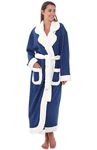 Alexander Del Rossa Womens Fleece Robe, Long Bathrobe, Small Medium Navy Blue with Sherpa Accents (A0264NBLMD)