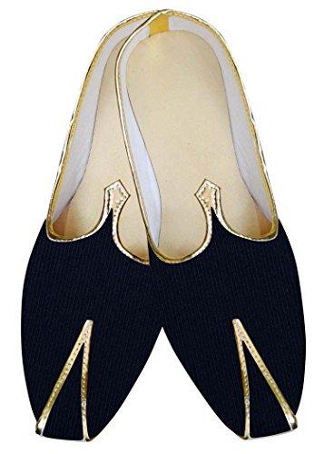 INMONARCH Herren Marine Blau Samt Schuhe für Hochzeit MJ0939
