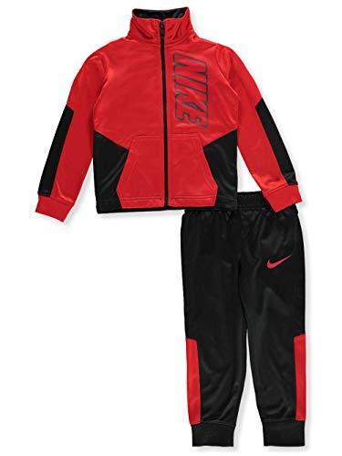 NIKE Boy`sTherma Dri-Fit 2 Piece Tracksuit (Black(86E201-R1N)/Red, 4) (For Jordan Kids Sweatsuits)