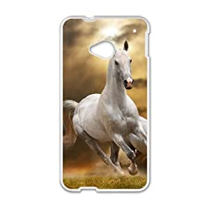 Hat Shark Snap On White Horse Running Galloping Through Grass ,TPU Phone case for HTC One M7,white