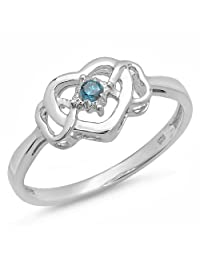 0.05 Carat (ctw) Sterling Silver Blue Diamond Solitaire Promise 3 Heart Infinity Love Engagement Ring