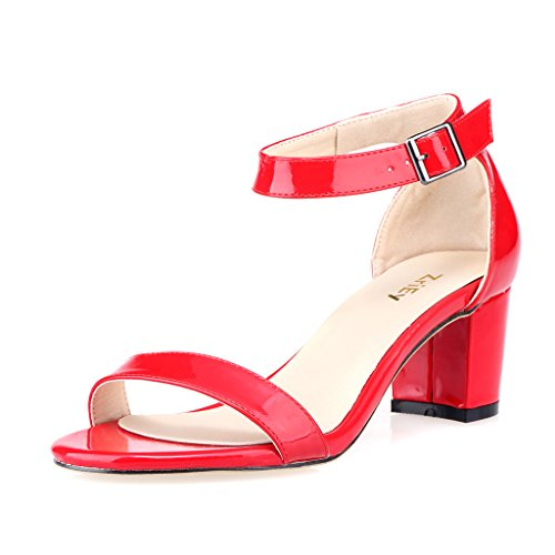 Patent Sandals Red (ZriEy Women's Fashion Buckle Mid Chunky Heel Sandals Red , 9.5 M US / 41 M EU)