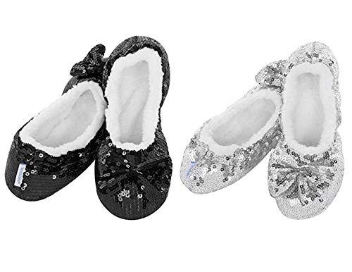 ReBL LLC Ballerina Bling Metallic Shine Womens Cozy Sequin Slippers Socks & Gift Bag (Medium (7/8), Black & Silver)