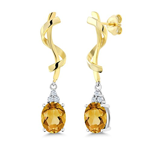 Citrine Oval Earring (3.22 Ct Oval Yellow Citrine 925 Sterling Silver Earrings)