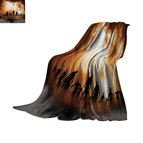 Custom homelife Cozy Flannel Blanket Halloween Decorations,Zombies Dead Men Body Walking in The Doom Mist at Dark Night Sky Haunted Decor,Orange Black Blanket for Sofa Couch Bed Bed or Couch 90
