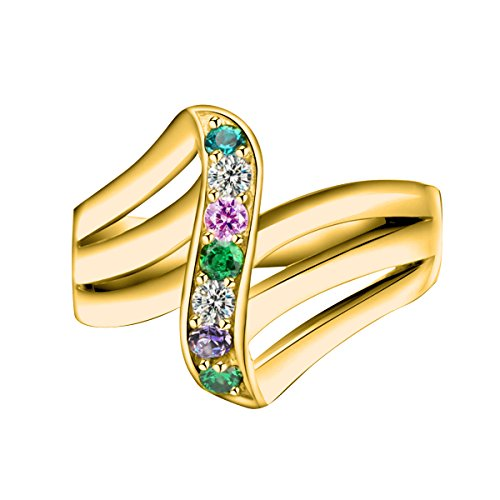 Quiges Mother Gold Plated Silver CZ Birthstone Personalized Engraved 6 Name Wave Stack Custom Ring 11.5