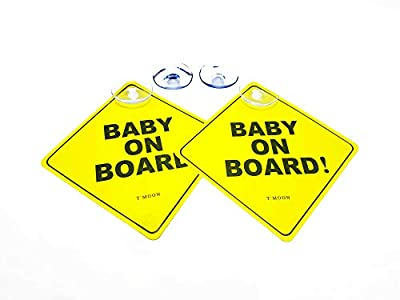 2 Baby on Board Sign + 4 Suction Cups (2 Bonus Ones). Stronger Suction. Baby on Board car Sign with Suction Cup. Heat Resistant and Very Effective Suction Cup.