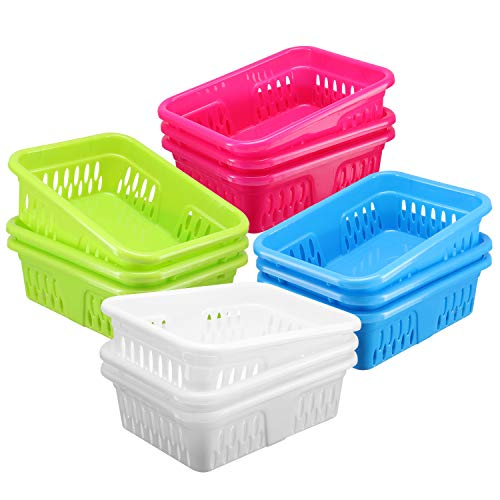 Bright Plastic Organizer Bins - 12 Pack -Small Colorful Storage Trays, Modular Baskets Holders for Classroom, Drawers, Shelves, Desktop, Closet, Playroom, Office, and More - 4 Colors - BPA Free (Prescription Bins)