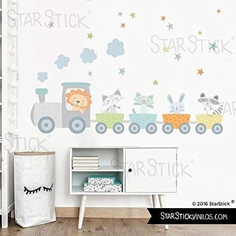 Vinilo bebé - Tren con animales y confeti azul - T0- Basico ...