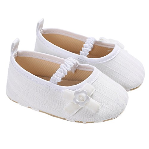 Baby Girls Princess Mary Jane Dress Shoes Soft Sole Anti-Slip House Crib Shoes White Size (Love White Soft Sole Shoes)